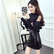 正味2017春の新しい韓国のファッション王女袖のステッチTシャツ+ PUレザースカートスーツに署名
