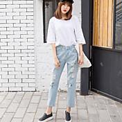 ゆるやかな色の薄いパンティーストッキングbfの穴のジーンズ女性の韓国語バージョンのカジュアルなハーレムパンツ9ポイント