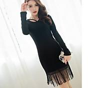 La nueva versión coreana de la poca cintura vestido negro temperamento delgado fino vestido de manga larga con flecos