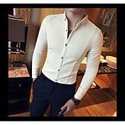 Masculino Camisa Social Casual Simples Primavera,Sólido Algodão Decote Quadrado Manga Longa Opaca