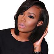 Mujer Pelucas de Cabello Natural Cabello humano Encaje Frontal Frontal sin Pegamento 130% Densidad Liso Peluca Negro Corto Medio Entradas