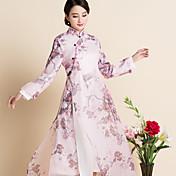 サイン春新しい中国風の印刷緩い大きなヤード女性のオーガンジードレス衣装チャイナドレスの茶