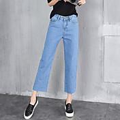 春の女性の緩いジーンズの広い脚は、薄いストレートジーンズだった
