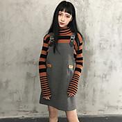 韓国のPUステッチスリムな調整可能な弾性ストラップのドレスウールスカートノースリーブのドレス本物のショットの学生