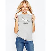 イーベイエイリアンエキスパートホットユニコーン動物のパターンプリントラウンドネック半袖Tシャツ女性のトップス