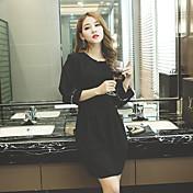 Signo 2016 mujeres coreanas adelgazan el vestido fino de la manga de soplo de la cadera del paquete