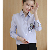 Firmar la primavera de 2017 mujeres&# 39; s informal suelto de manga larga casual camisa cuello blusa camisa de impresión