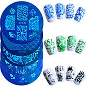 1pcs design de moda venda quente da arte do prego stamping placa colorido de flores borboleta bonita stencils projeto manicure STZ-01-10