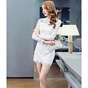 Mujer Encaje Vestido Casual/DiarioUn Color Halter Mini Manga Larga Algodón Verano Tiro Medio Microelástico Medio