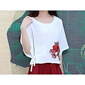 primavera y el verano nuevo estilo chino bordado camisa suelta de algodón respaldo camiseta de la camisa