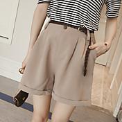 La nueva cintura floja de las mujeres del verano era pantalones anchos de la pierna de la gasa fina que rizaban los cortocircuitos