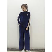 サイン韓国カジュアルトラックスーツのベルベットのハイネック長袖スポーティーな小型ワイドレッグパンツスーツ