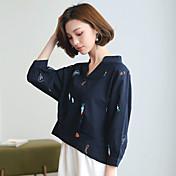Signo blusas camisa bordada hembra fresca nueve puntos manga camisa de moda suelta coreano fan
