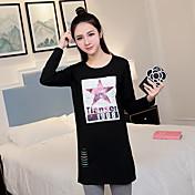 La nueva primavera de maternidad camisa larga camisa de fondo suelta de manga larga camiseta modelo de disparo real ha