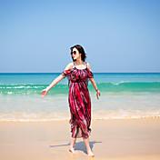 スリングストラップレスは、海のビーチドレスボヘミアンドレスの休日ドレスのシフォン女神をフラウンス付き