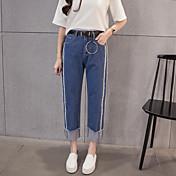 直線エッジ9ポイントのジーンズ女性のワイドレッグパンツを洗っシェルずに新しい冬の韓国のファッションダブル腰に署名