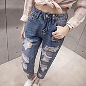 春緩いジーンズが穴印刷9ポイントのジーンズをワイドレッグパンツ女性バリサイン