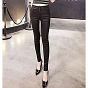 Mujer Sexy Tiro Medio Eslático Ajustado Pantalones,Corte Bodycon Color sólido Sexy Color puro