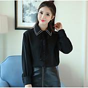 小さな穀物新しい冬2016韓国版は薄いレース緩い無地の色のシャツ女性のポロシャツの襟のシャツだった