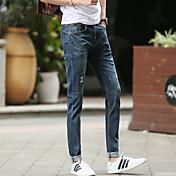 新しい春と夏の2017人の男性' sのジーンズ潮男性' sのカジュアルパンツズボン穴ストレッチティーン