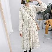 Tiro real Arco retro coreano slim encaje de largo sección bottoming vestido floral