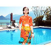 Mujer Línea A Vestido Casual/Diario Formal Vacaciones Sofisticado,Floral Escote Redondo Hasta la Rodilla 1/2 Manga Seda Primavera Verano