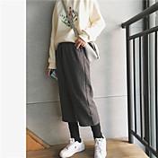 firmar gruesa de lana pantalones anchos de la pierna femenina pantalones de la pierna del otoño y del invierno de cierre pantalones