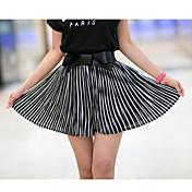 verano nuevas rayas lazo de gasa coreano se pliegan cortocircuitos de la cintura de los culottes femenina