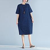 Signo de algodón a rayas suelta yardas grandes vestido de algodón casual gordo mm
