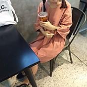 signo de cuerno principios de la primavera 2017 quinta manga con cuello en V vestido de la muñeca de cobertura suelta era delgado y largo