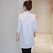 Signo 2017 primavera nueva Corea del cordón de costura de manga larga mujer camisa de algodón