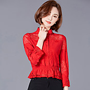 レースシャツ女性韓国スリム中空襟ショートシャツ長袖シャツ2017新しい潮