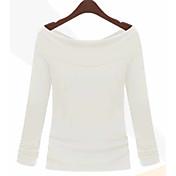 estilo europeo de las nuevas mujeres camisa de cuello atractivo torno a dos tirantes desgaste manga larga