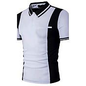 メンズ お出かけ フォーマル 夏 Polo,シンプル 活発的 シャツカラー カラーブロック コットン 半袖 ミディアム