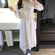 品質のスポット韓国のハイネックレース半袖レースopenworkのかぎ針編みのドレス