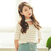 モデルリアルショット2017夏新古典的なストライプホルター半袖Tシャツ
