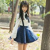 2017 primavera nuevas mujeres coreanas a cuadros azul marino vestido de la correa de la cintura del organza salvaje