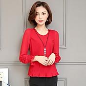Camisa roja 2017 de la camisa de la gasa de la camisa de la muestra mujeres delgadas de las tapas delgado de la camisa long-sleeved