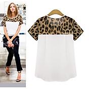 Europa leopardo costura suelta de manga corta camiseta 0.08kg gran spot