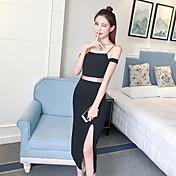 damas signo vestido sin tirantes atractivo delgado era vestido del arnés del vestido de ranura delgada