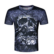 メンズ カジュアル/普段着 夏 Tシャツ,シンプル ラウンドネック プリント ポリエステル 半袖 スモーキー