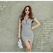 verano versión coreana de la sección larga v-cuello ocasional de la hembra de la camiseta de manga corta vestido delgado de la cadera del