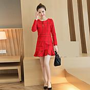 符号2017春新スリム薄いフィッシュテールスカートの高いポケットヒップ赤のチェック柄のドレスをフラウンス