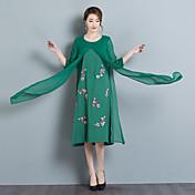 国民の風2017夏の新しいソリッドカラー刺繍のラウンドネック長袖のドレスの女性モデル
