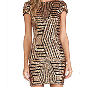 * Aliexpress atractivo grande y de oro americano sequined halter vestido paquete de cadera de manga corta mujeres vestido