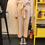 サイン、新しい、日本、柔らかい、姉妹、ばね、ヴィンテージ、シンプル、格子縞、弓、広い、脚、パンツ、パンティー