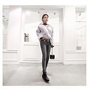 17 modelos de moda de Corea rayado atractivo v-cuello camisa de manga larga costuras sueltas perspectiva hilo de red de la camisa de
