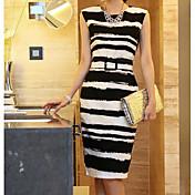 2016夏の襟ノースリーブの夏のドレススリムな女性韓国の女性の気質は薄いスカート大きなヤード