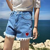 Signo nuevo coreano de alta cintura amor bordado pantalones cortos borla borla nett