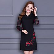 春と秋のファッションのプリントドレスの2016新しい冬のドレスの女性スリムVネックの長いセクション